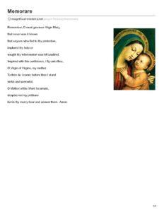 picture regarding Memorare Prayer Printable called -Memorare - Magnificat Community